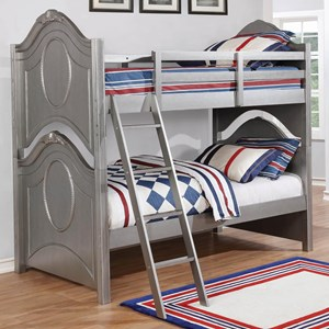 Glam Twin Over Twin Youth Bedroom Bunk Bed with Metallic Finish