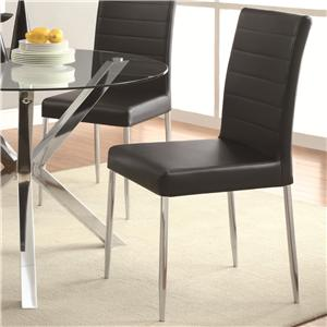 Contemporary Dining Chair with Black Vinyl Seat Cushion