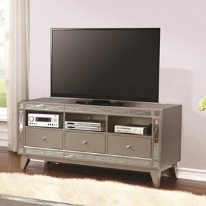 Metallic TV Console with Mirrored Accent