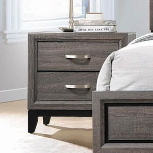 Contemporary Nightstand with 2 Drawers