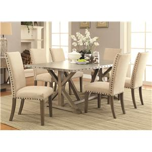 7 Piece Transitional Style Table and Chair Set with Metal Top and Nailhead Trim