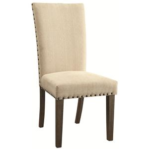 Transitional Style Side Chair with Padded Upholstery and Nailhead Trim
