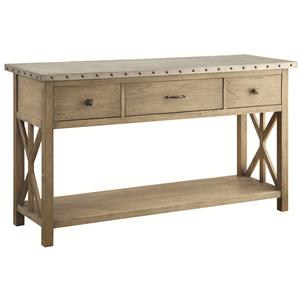 Transitional Style Server with Metal Top and Nailhead Trim