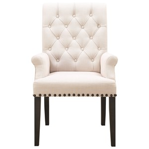 Upholstered Dining Arm Chair with Diamond Tufting