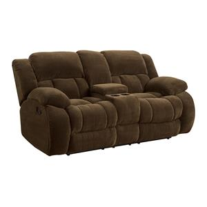 Casual Pillow Padded Reclining Loveseat with Cupholders and Storage