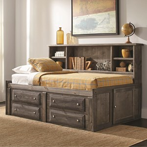 Twin Storage Daybed with Bookcase and Underbed Storage