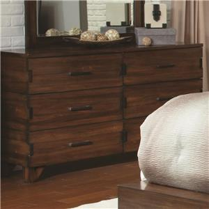 6 Drawer Dresser with Exposed Finger Joint