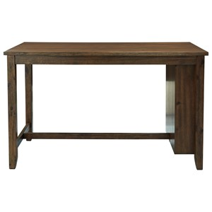 Rustic Rectangular Dining Room Counter Table with Built-in Storage