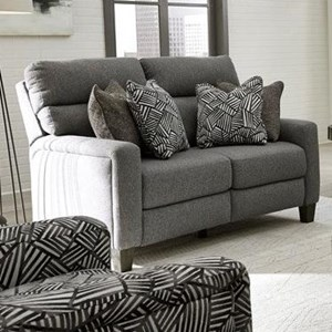 Transitional Double Reclining Power Loveseat with Pillows