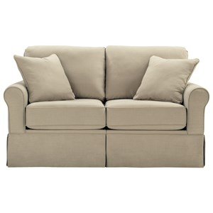 Contemporary Loveseat with Skirt