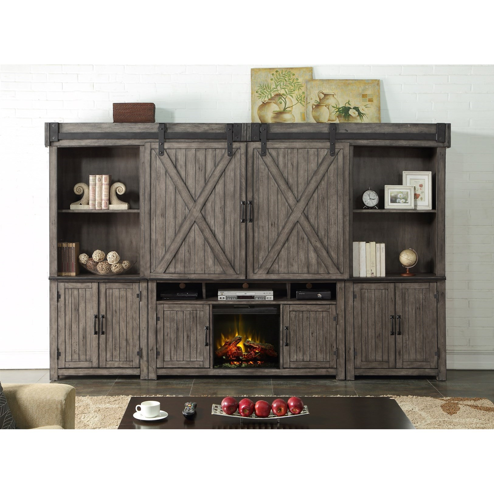 Storehouse Collection Fireplace Entertainment Wall Unit by Legends Furniture at EFO Furniture Outlet
