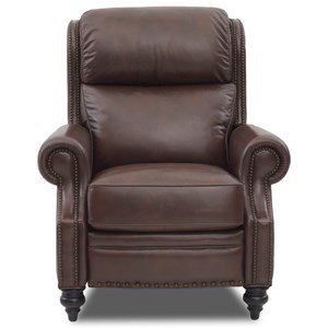 Traditional Power High Leg Leather Recliner with Nailhead Trim