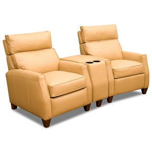 Two Seat Reclining Theater Sectional with High Legs and Adjustable Headrests