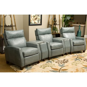 Three Seat Reclining Home Theater Group with High Legs and Adjustable Headrests