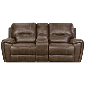 Leather Console Reclining Loveseat