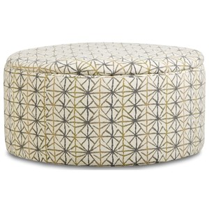 Round Storage Ottoman with Casters