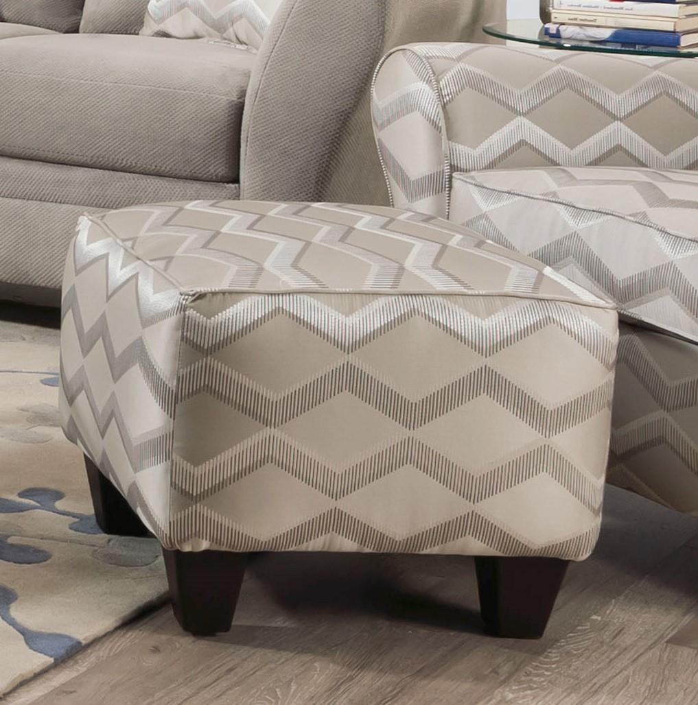 40F Copper Platinum Geometric Print Ottoman by Corinthian at Furniture Fair - North Carolina