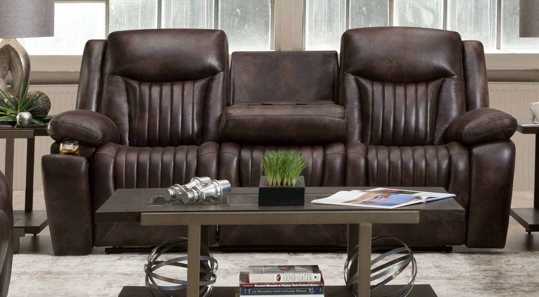 L77701 Leather Power Headrest Sofa with Drop Table by Corinthian at Furniture Fair - North Carolina