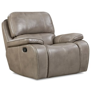 Casual Glider Recliner with Nailhead Trim