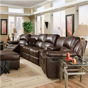 Reclining Theater Seating with Center Loveseat