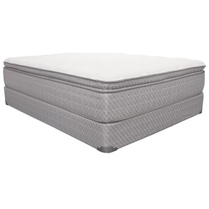 """King 15"""" Pillow Top Innerspring Mattress and 9"""" Wood Foundation"""