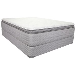 "King 14"" Pillow Top Pocketed Coil Mattress and 9"" Wood Foundation"