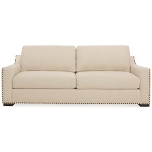 Casual Two-Seat Sofa with Oversized Track Arms and Nailheads
