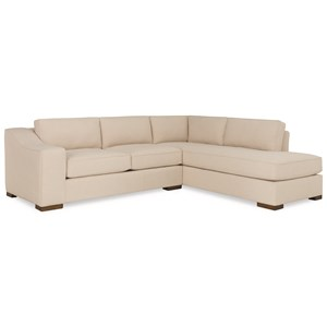 Contemporary Two Piece Sectional Sofa with RAF Chaise Lounge