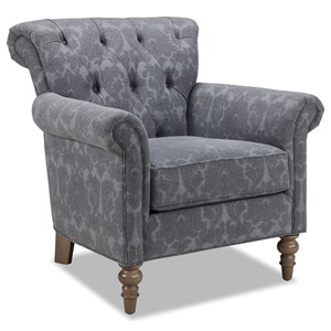 Button Tufted Chair with Rolled Back and Turned Legs