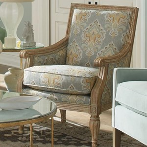 Upholstered Exposed Wood Frame Chair with Turned Legs
