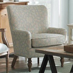 Transitional Chair with Wing Back and Turned Legs