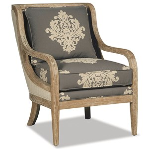 Accent Chair with Exposed Wood Trim in Weathered Oak