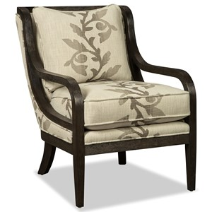 Accent Chair with Exposed Wood Trim in Dark Weathered Oak
