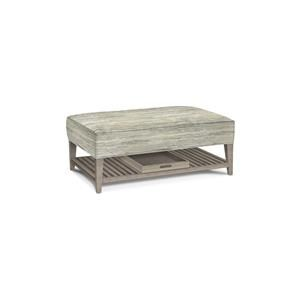Storage Cocktail Ottoman with Wood Shelf and Removable Tray