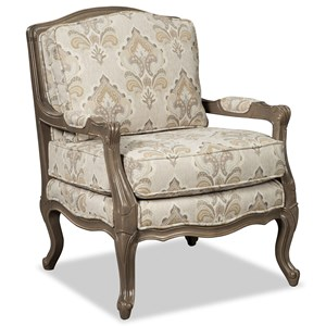 Traditional Carved Wood Chair with Upholstered Seat