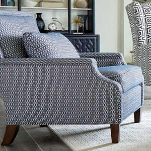 Transitional Chair with Tailored Design and Kidney Pillow