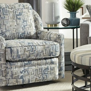Casual Swivel Chair with Loose Pillow Back