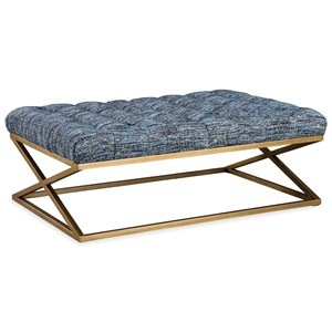 Glam Rectangular Cocktail Ottoman with Tufting and Metal Base