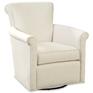 Transitional Swivel Glider Chair with Rolled Arms and Back