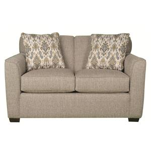 Casual Loveseat with Modern Styling and Accent Pillows
