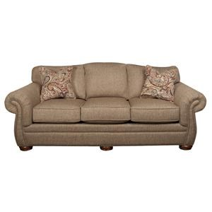Classic Sofa with Nailhead Trim and Decorative Accent Pillows
