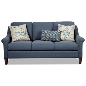 Transitional Sofa with Rolled Arms and Wing Back