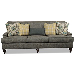 Transitional Sofa with Light Brass Nailheads