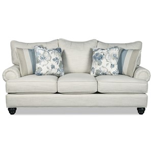 Traditional Sofa with 4 Toss Pillows