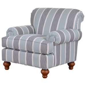 Traditional Upholstered Chair with Turned Wood Legs