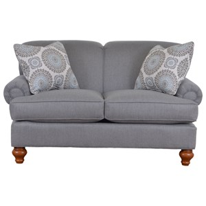 Traditional Loveseat with Turned Wood Legs