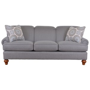Traditional Sofa with Turned Wood Legs