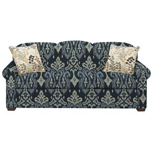 Casual Stationary Sofa with Sock Arms and Wood Feet
