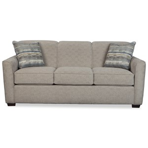 Contemporary Sleeper Sofa with Flared Track Arms and Memory Foam Mattress