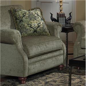 Transitional Upholstered Chair with Exposed Wood Feet